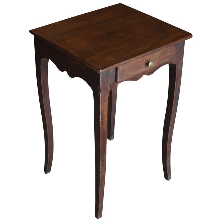 Small French Walnut Side Table With Drawer For Sale At Stdibs - Walnut side table with drawer