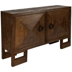 Rare Custom 1940s Stained Oak Cabinet by James Mont