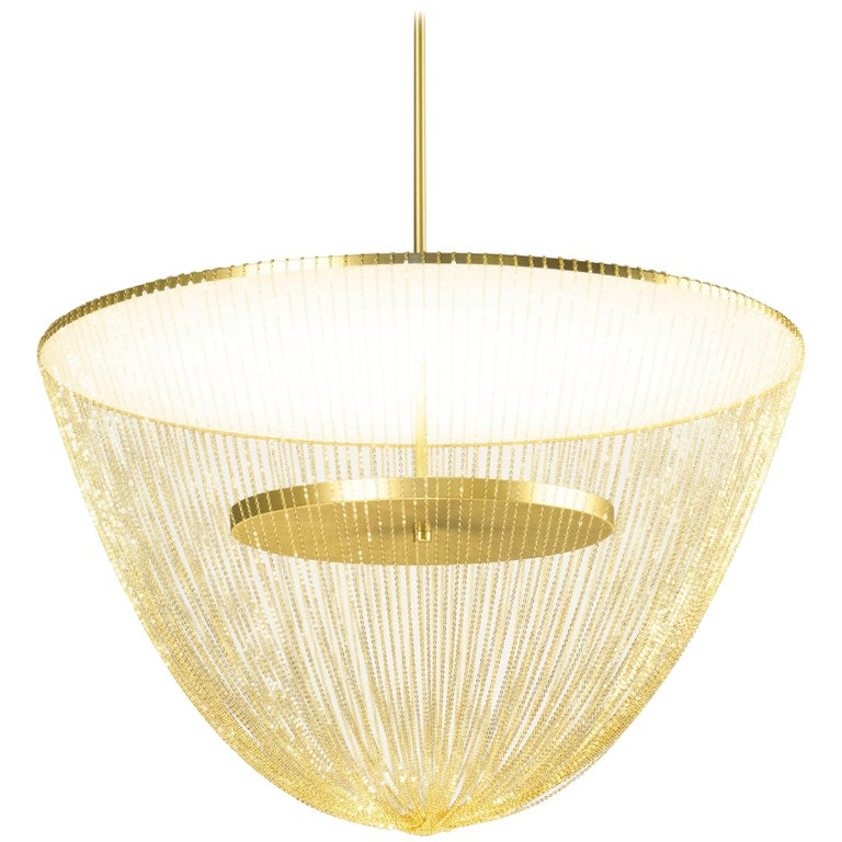 Céleste Small Chandelier in Satin Brass with Satin Chains by Larose Guyon For Sale