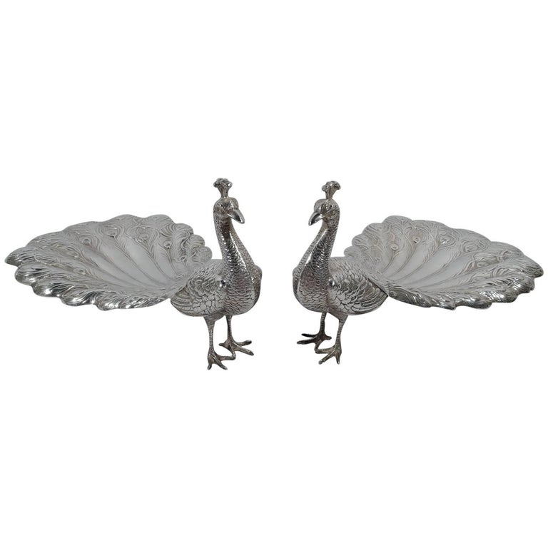 Pair of Antique Durgin Sterling Silver Peacocks