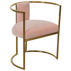 Modern Acapulco Curved Dining Chair Brass Frame