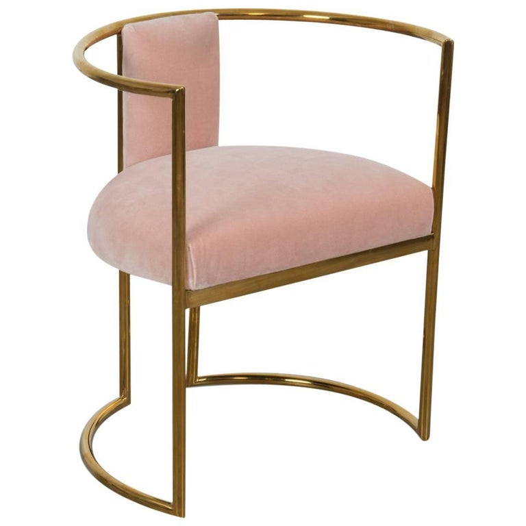 Modern Acapulco Curved Dining Chair Brass Frame For Sale