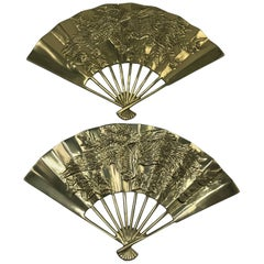1960s Brass Chinoiserie Fan Wall Sculptures with Dragon Motif, Pair