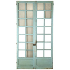 Pair of Antique French Original Paint Doors, circa 1800s