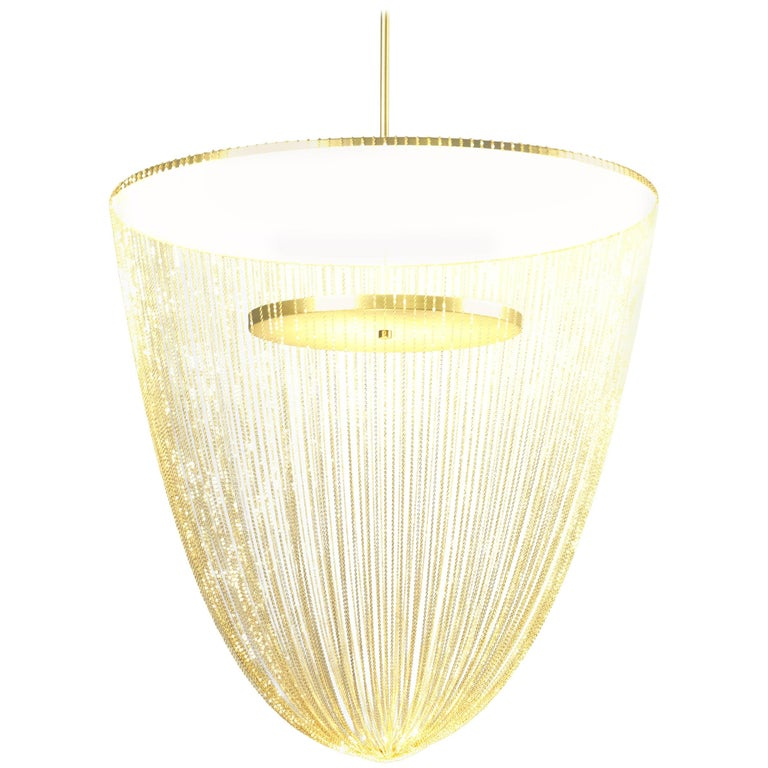 Céleste Large Chandelier in Satin Brass with Satin Chains by Larose Guyon