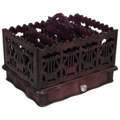 American Victorian Mahogany Filigree Carved Magazine Rack or Canterbury