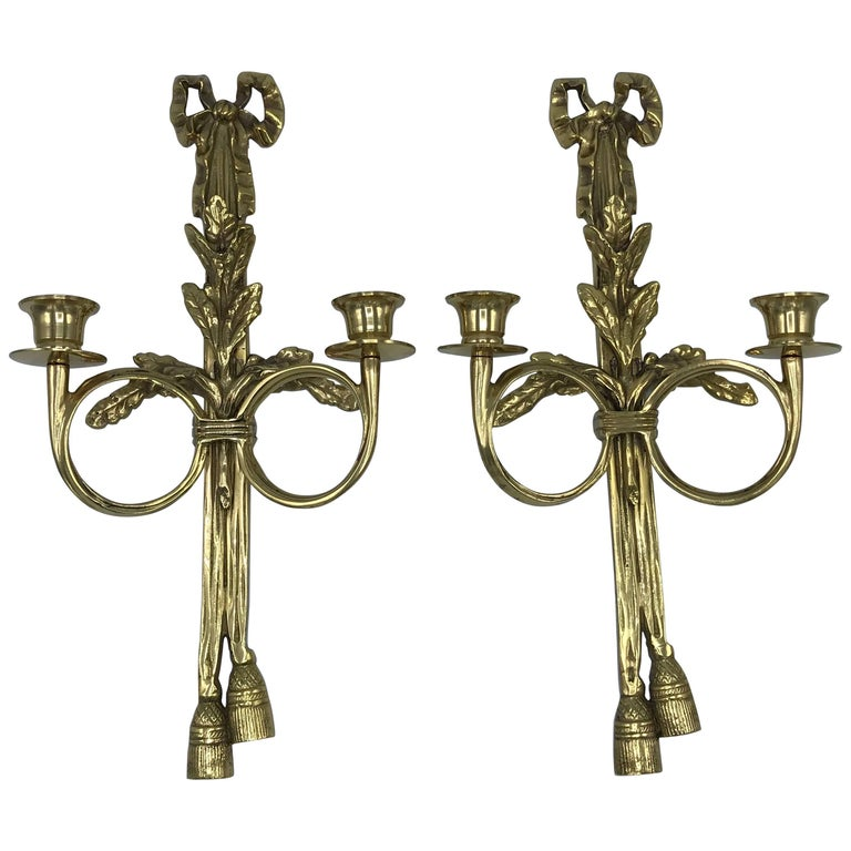 1960s Italian Brass Candlestick Sconce with Tassel and Laurel Wreath Motif, Pair
