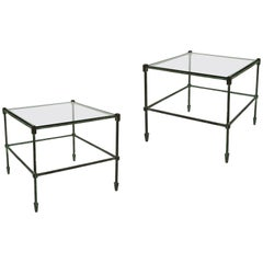 Elegant Pair of Patinated Bronze and Glass Side Tables