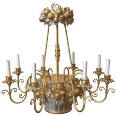 1960s Italian Florentine Fruit Basket Eight-Arm Chandelier