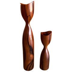 Pair of Danish Modern Rosewood Candlesticks