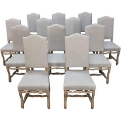 Set of 12 Antique French Os de Mouton Stripped Dining Chairs, Newly Upholstered