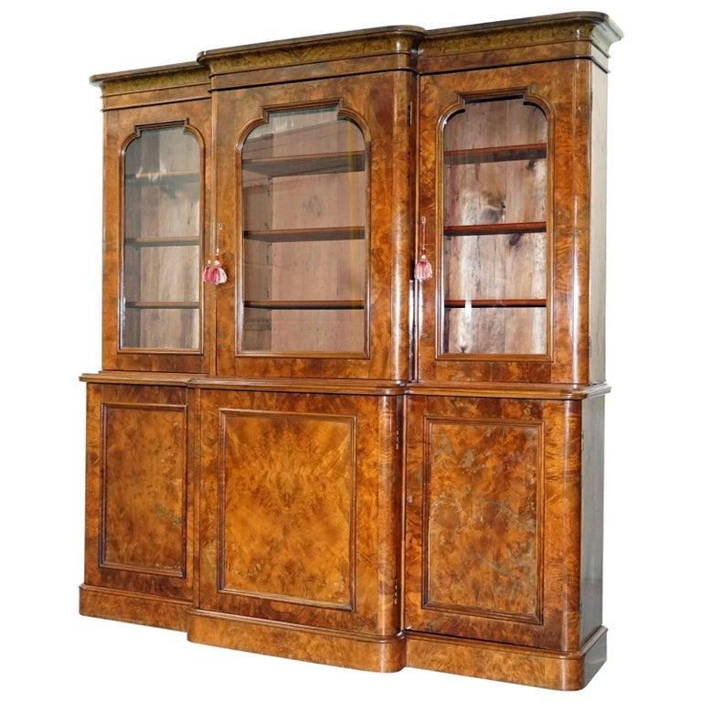 Rare Stunning Burr Walnut William IV 1830 Breakfront Library Bookcase Regency