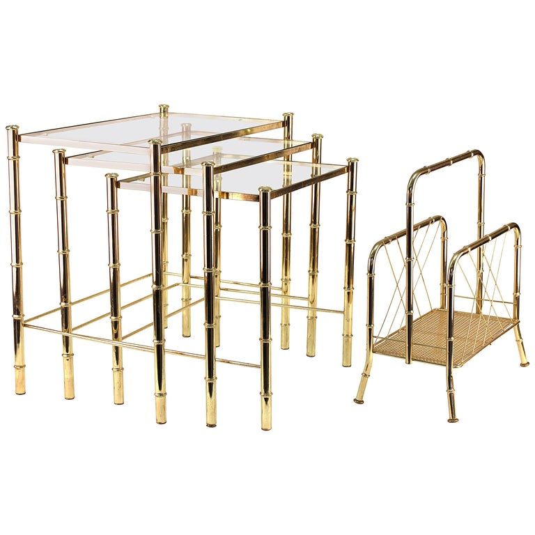 Nesting Tables and Magazine Stand Set with Faux Bamboo Design in Gilt Metal