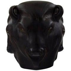Karl Hansen Reistrup for Kähler, Bulls Heads, Pottery Vase, Bull Vase