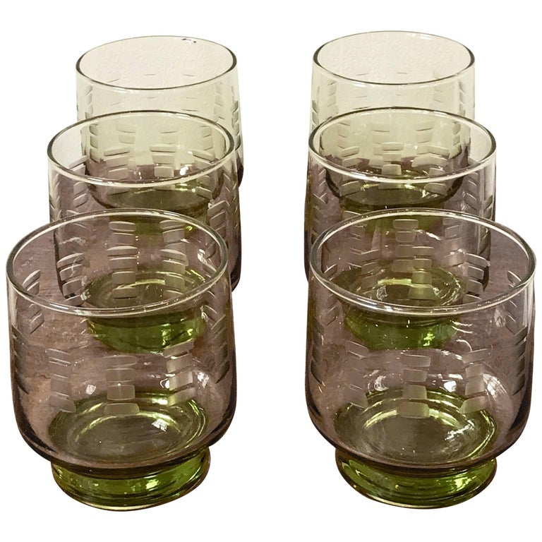 Set of Six Mid-Century Modern Etched Green Cocktail Glasses, 1960s