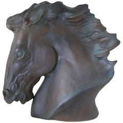 Charcoal Bronze-Glazed Ceramic Horse Head Bust
