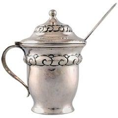 Mustard Jar, Heimburger, Danish Art Nouveau Silver with Ornamentation