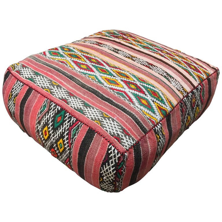 Moroccan Floor Pillow Seat Cushion Made from a Vintage Tribal Berber ...