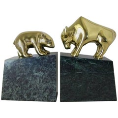Pair of Brass and Marble Bull and Bear Bookends