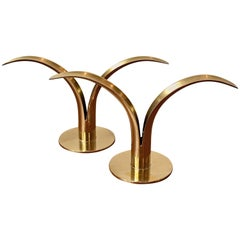 Midcentury Brass Candlestick Holders by Iver Alenius Bjork for Ystad, Sweden