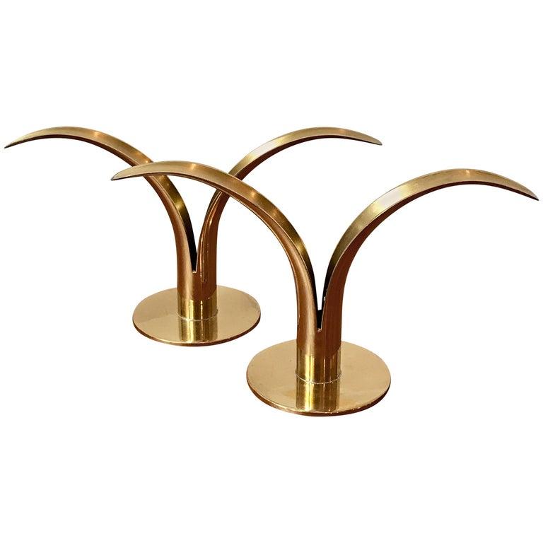 Midcentury Brass Candlestick Holders by Iver Alenius Bjork for Ystad, Sweden