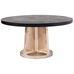 Neolith Table in Cast Bronze and Charred Maple