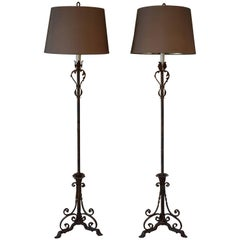 Pair of Antique French Iron Floor Lamps