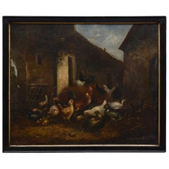 19th Century Oil Painting of Barn Yard Scene