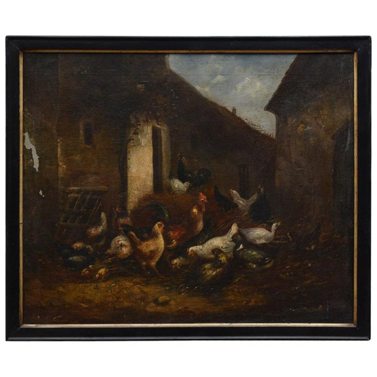 19th Century Oil Painting of Barn Yard Scene For Sale