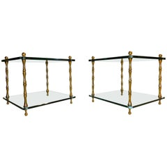 Midcentury Pair of Two-Tiered Glass Top Faux Bois Brass Side Tables, 1960