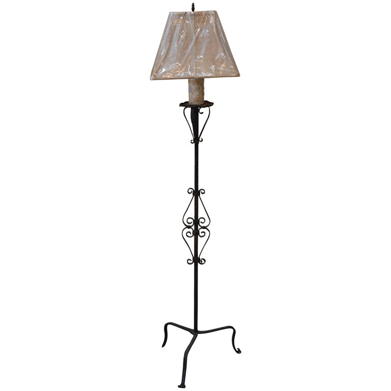 French Iron Torchiere Floor Lamp For Sale