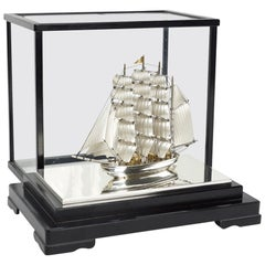 Sterling Silver Full Mast Ship in Glass and Ebonized Wood Case, Great Details