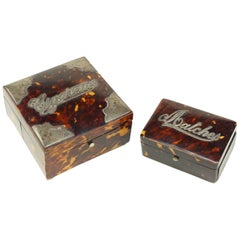 Tortoise Cigarette and Match Box with Sterling Mounts
