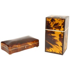 Two Tortoise Shell Veneer Boxes