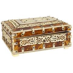Tortoise Shell Decorative Box with Bun Feet