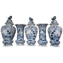 Giant Blue and White Delft Garniture Five Piece with Romantic Scenes IN STOCK