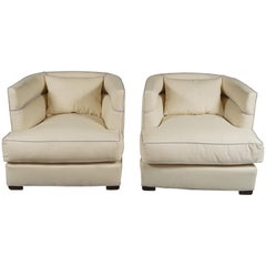 Pair of French Club Chairs in the Style of Paul Frankl or Jacques Adnet