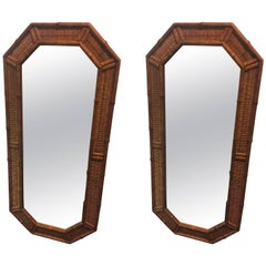 Pair of Modern Wood Bamboo and Wicker Octagonal Mirrors
