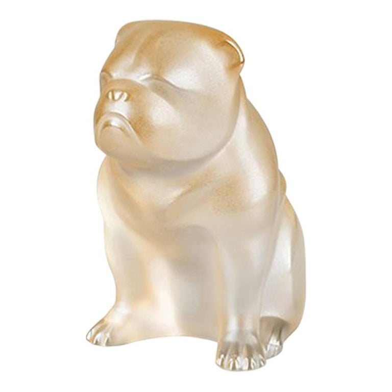 Lalique Bulldog Figure in Gold Luster Crystal For Sale