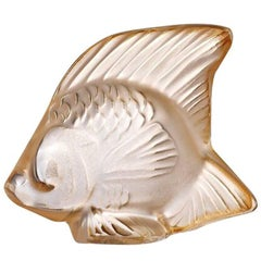 Lalique Fish Sculpture in Gold Luster Crystal