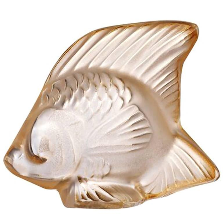Lalique Fish Sculpture in Gold Luster Crystal For Sale