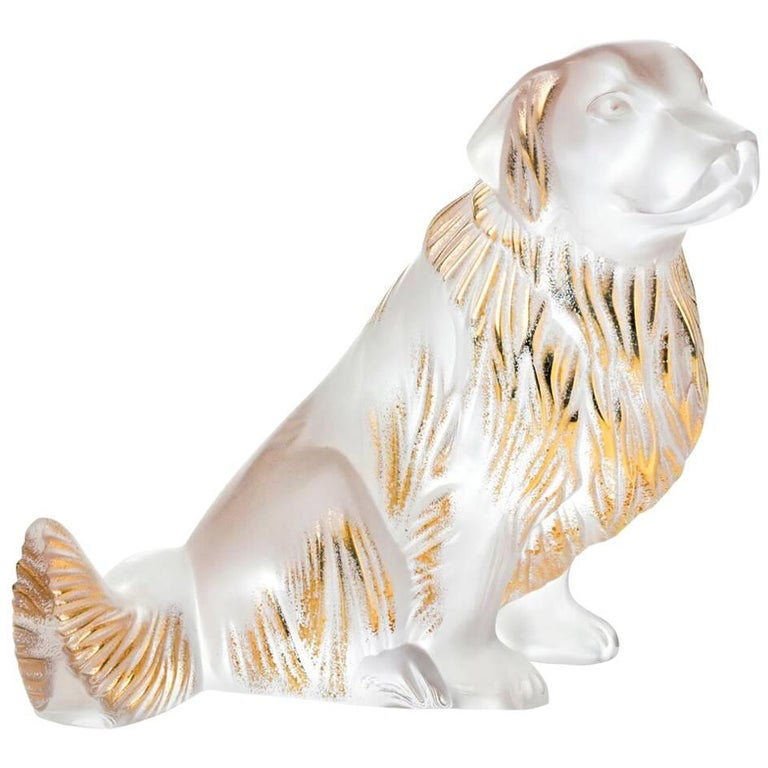 Lalique Golden Retriever Dog Figure/Sculpture in Clear & Gold Stamped Crystal For Sale