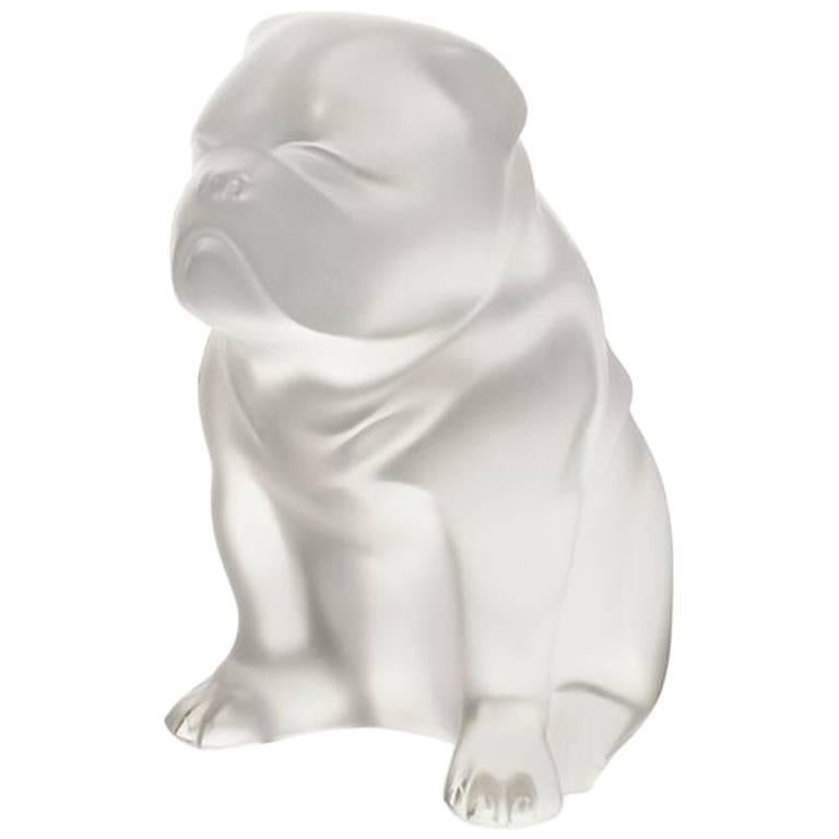 Lalique Bulldog Figure/Sculpture in Clear Crystal