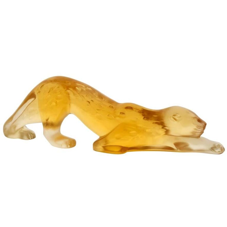 Lalique Zeila Small Panther Sculpture in Amber Crystal For Sale