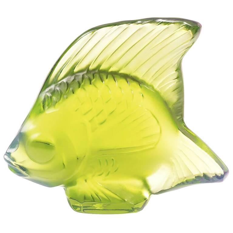 Lalique Fish Figure/Sculpture in Bright Green Crystal For Sale