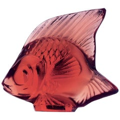 Lalique Fish Figure/Sculpture Golden Red Crystal