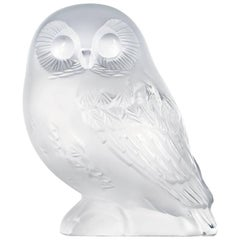 Lalique Shivers Owl Sculpture Clear Crystal
