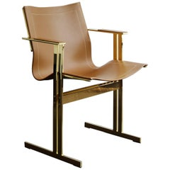 Modern Contemporary Dining/Office Chair Brown Leather and Gold Brass Plated