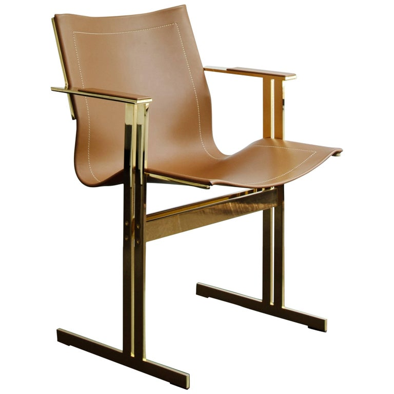 Modern Contemporary Dining/Office Chair Brown Leather and Gold Brass Plated For Sale
