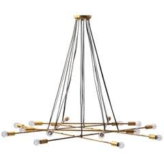 Large Modern Italian Pendant/Chandelier Sixteen-Light, Gino Sarfatti Style